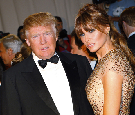 Real estate magnate and television personality trump and his wife